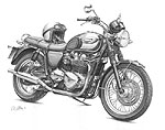 Triumph Bonneville - artwork by Giles Illsley